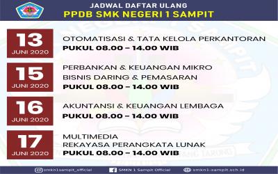INFORMASI PENDAFTARAN ULANG CALON PESERTA DIDIK BARU SMK NEGERI 1 SAMPIT TAHUN PELAJARAN 2020/2021